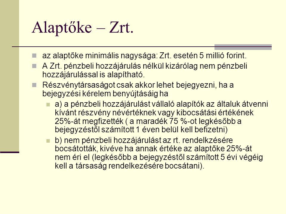 Alaptőke – Zrt. az alaptőke minimális nagysága: Zrt. esetén 5 millió forint.