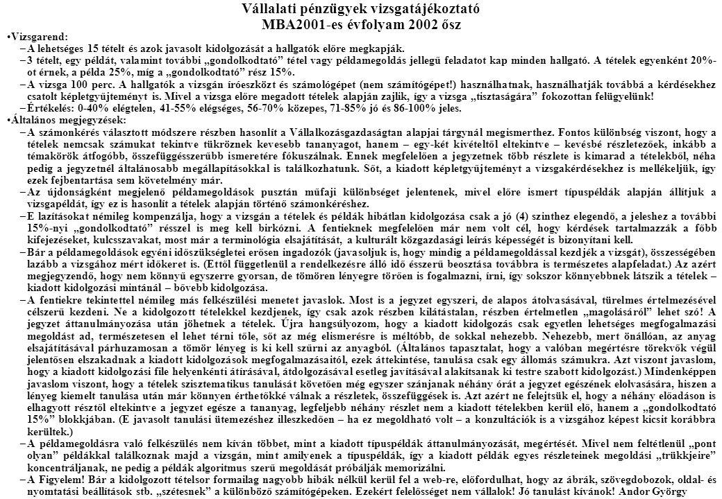 Vállalati pénzügyek vizsgatájékoztató MBA2001-es évfolyam 2002 ősz