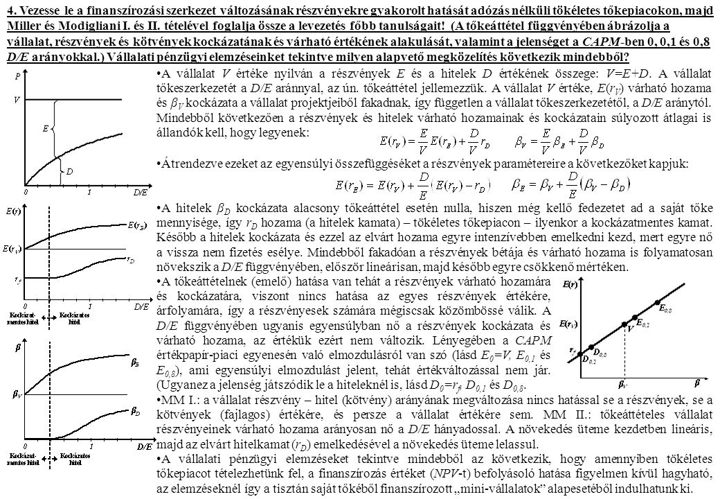4. Vezesse le a finanszírozási szerkezet változásának részvényekre gyakorolt hatását adózás nélküli tökéletes tőkepiacokon, majd Miller és Modigliani I. és II. tételével foglalja össze a levezetés főbb tanulságait! (A tőkeáttétel függvényében ábrázolja a vállalat, részvények és kötvények kockázatának és várható értékének alakulását, valamint a jelenséget a CAPM-ben 0, 0,1 és 0,8 D/E arányokkal.) Vállalati pénzügyi elemzéseinket tekintve milyen alapvető megközelítés következik mindebből