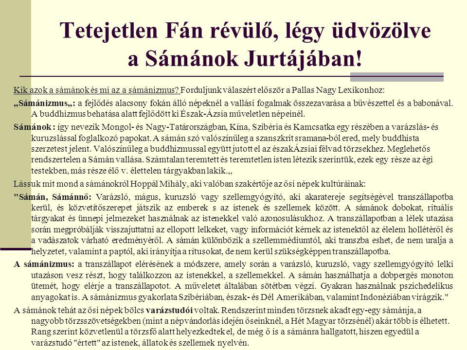 Tetejetlen Fán révülő, légy üdvözölve a Sámánok Jurtájában!