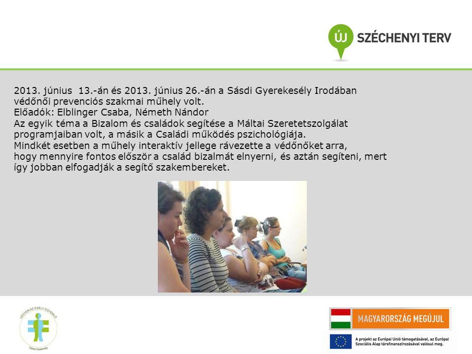 2013. június 13.-án és 2013. június 26.-án a Sásdi Gyerekesély Irodában védőnői prevenciós szakmai műhely volt.