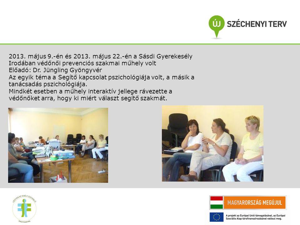 2013. május 9.-én és 2013. május 22.-én a Sásdi Gyerekesély Irodában védőnői prevenciós szakmai műhely volt