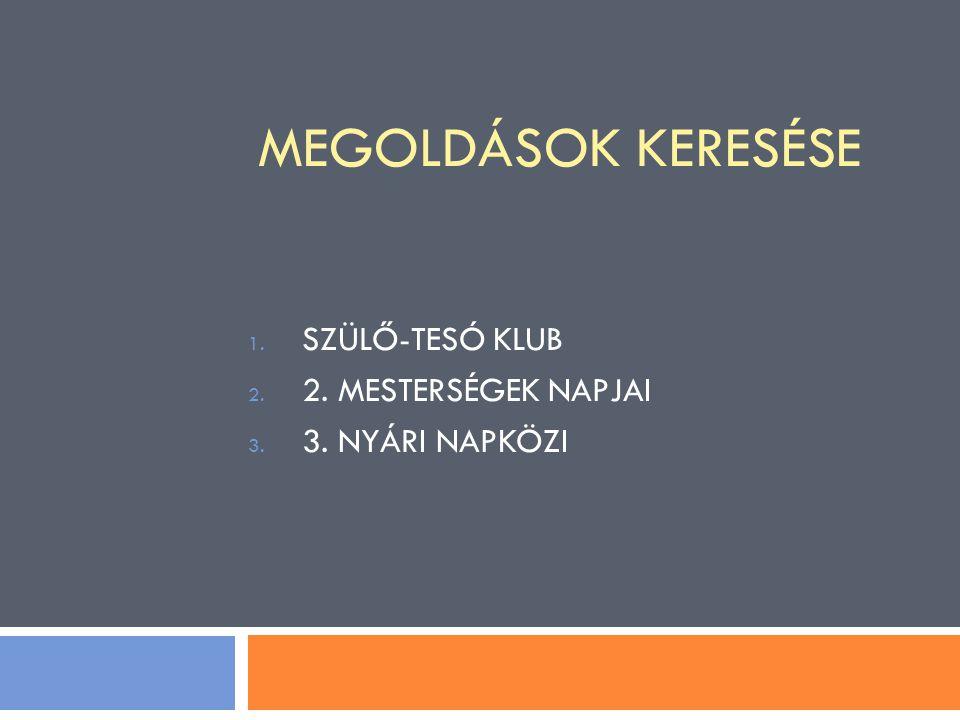 SZÜLŐ-TESÓ KLUB 2. MESTERSÉGEK NAPJAI 3. NYÁRI NAPKÖZI