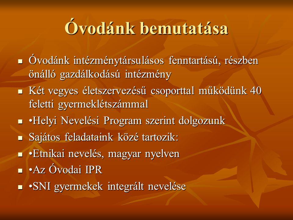 Óvodánk bemutatása Óvodánk intézménytársulásos fenntartású, részben önálló gazdálkodású intézmény.