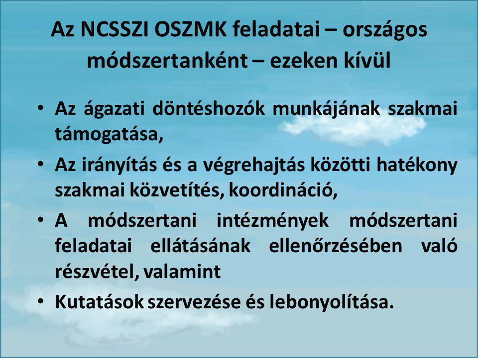 Az NCSSZI OSZMK feladatai – országos módszertanként – ezeken kívül