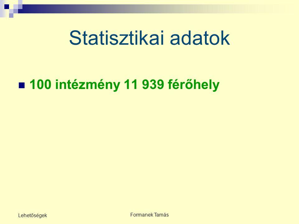 Statisztikai adatok 100 intézmény 11 939 férőhely Lehetőségek
