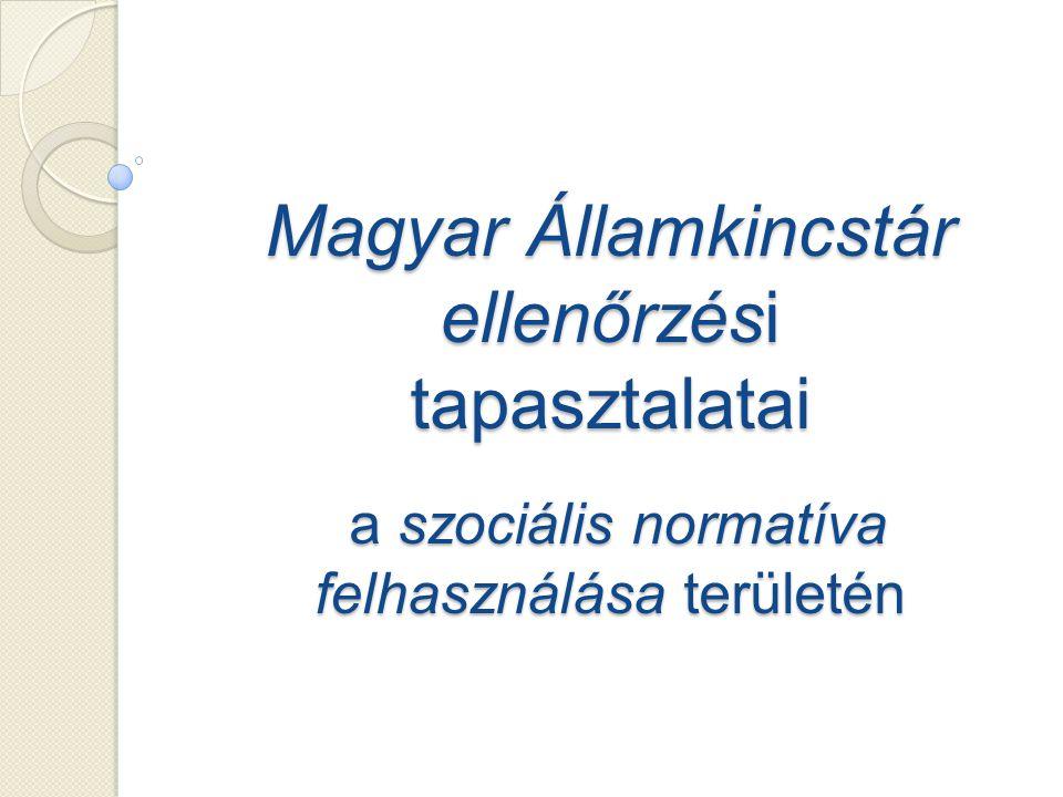 Magyar Államkincstár ellenőrzési tapasztalatai a szociális normatíva felhasználása területén