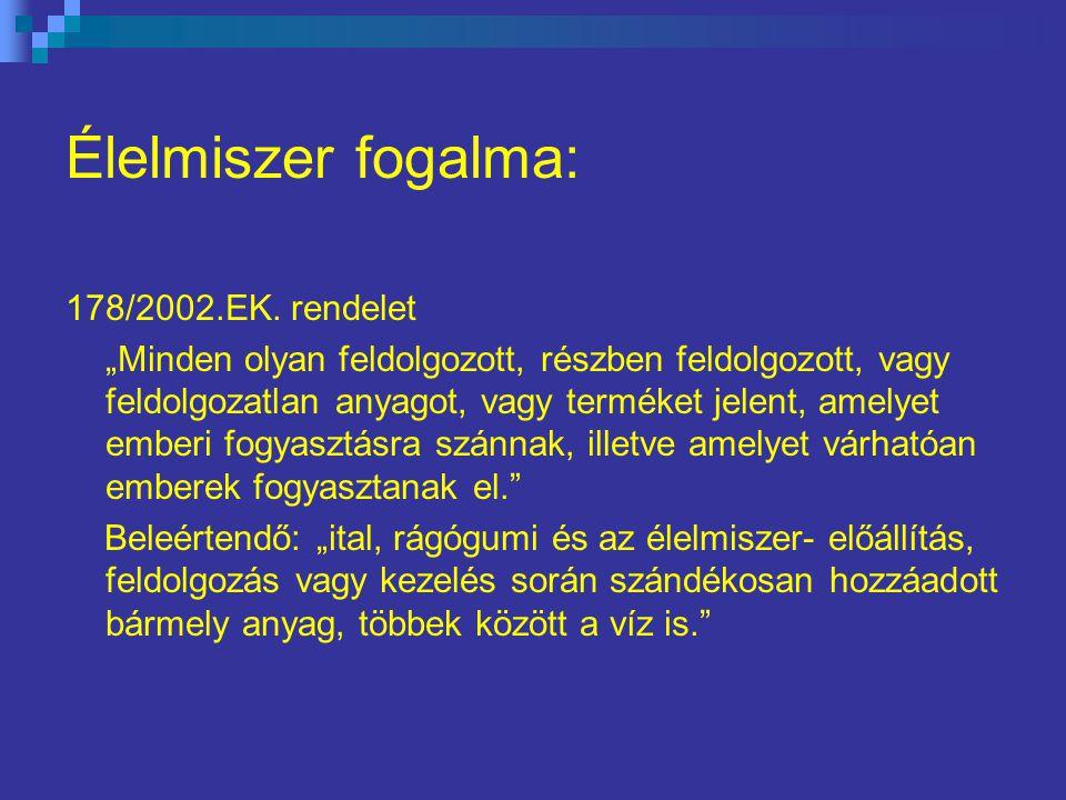 Élelmiszer fogalma: 178/2002.EK. rendelet