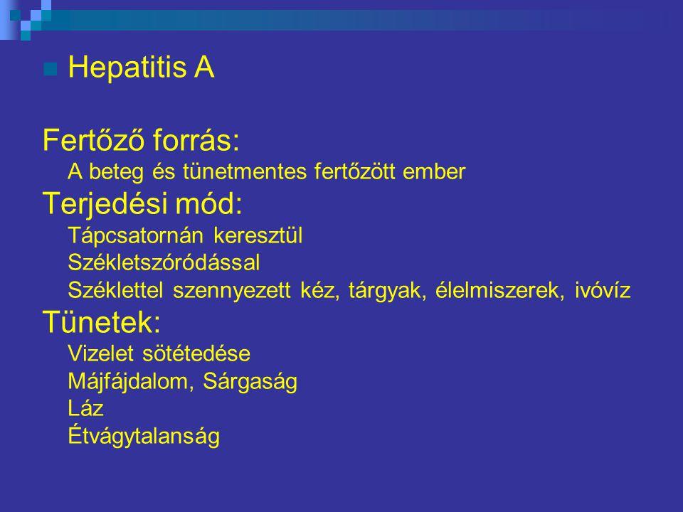 Hepatitis A Fertőző forrás: Terjedési mód: Tünetek: