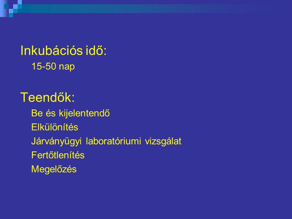 Inkubációs idő: Teendők: 15-50 nap Be és kijelentendő Elkülönítés