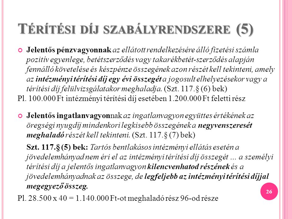 Térítési díj szabályrendszere (5)