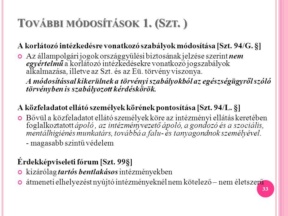 További módosítások 1. (Szt. )