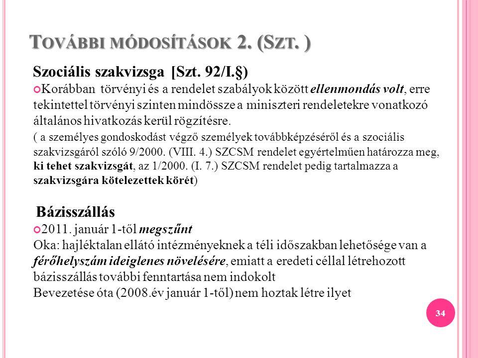 További módosítások 2. (Szt. )