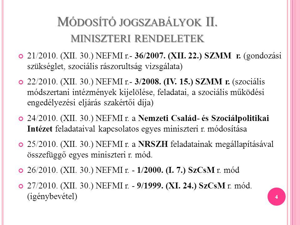 Módosító jogszabályok II. miniszteri rendeletek