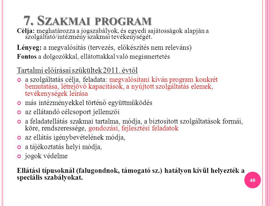 7. Szakmai program Tartalmi előírásai szűkültek 2011. évtől