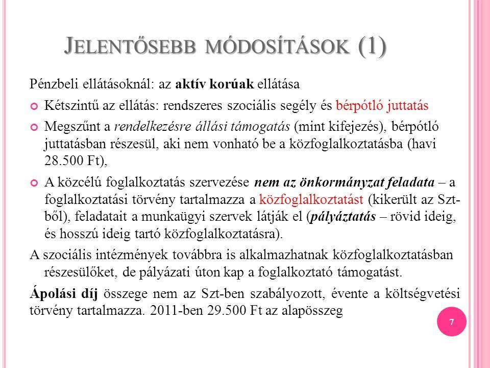 Jelentősebb módosítások (1)