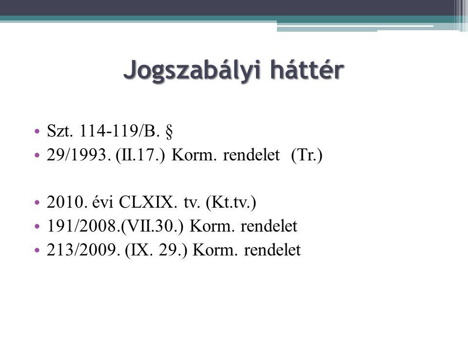 Jogszabályi háttér Szt. 114-119/B. §