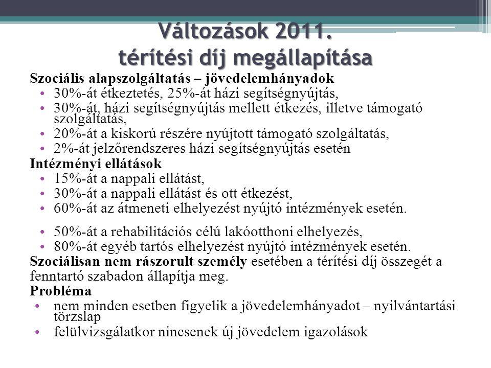Változások 2011. térítési díj megállapítása