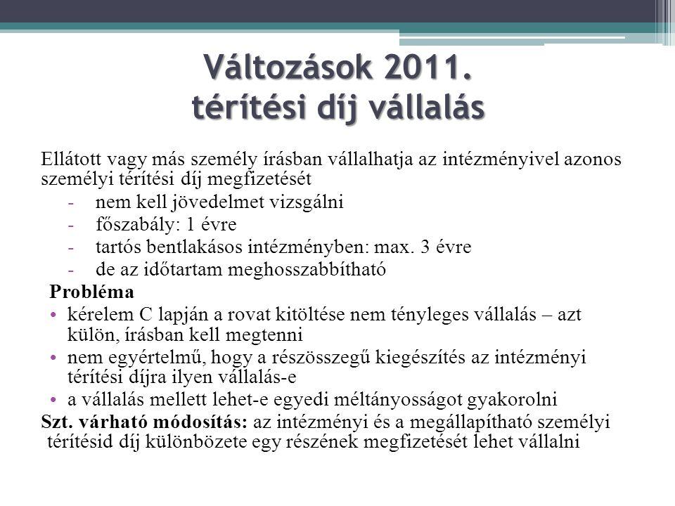 Változások 2011. térítési díj vállalás