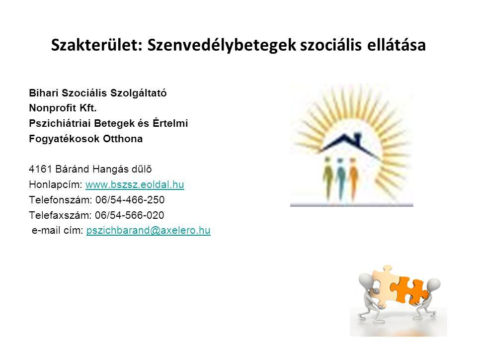 Szakterület: Szenvedélybetegek szociális ellátása