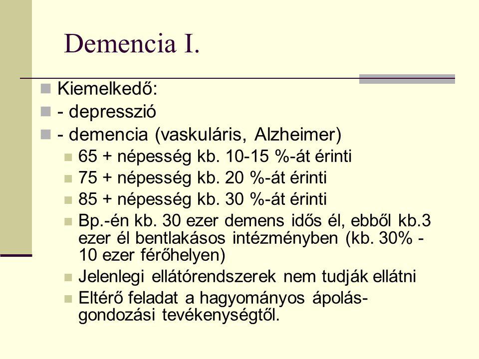 Demencia I. Kiemelkedő: - depresszió