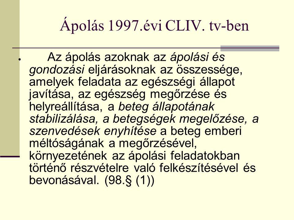 Ápolás 1997.évi CLIV. tv-ben