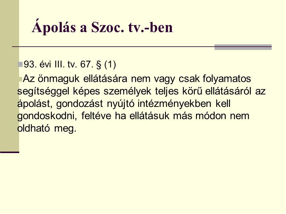 Ápolás a Szoc. tv.-ben 93. évi III. tv. 67. § (1)