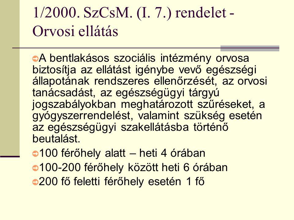 1/2000. SzCsM. (I. 7.) rendelet - Orvosi ellátás