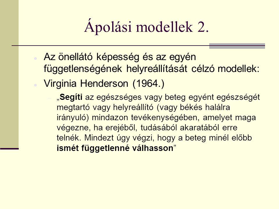 Ápolási modellek 2. Az önellátó képesség és az egyén függetlenségének helyreállítását célzó modellek: