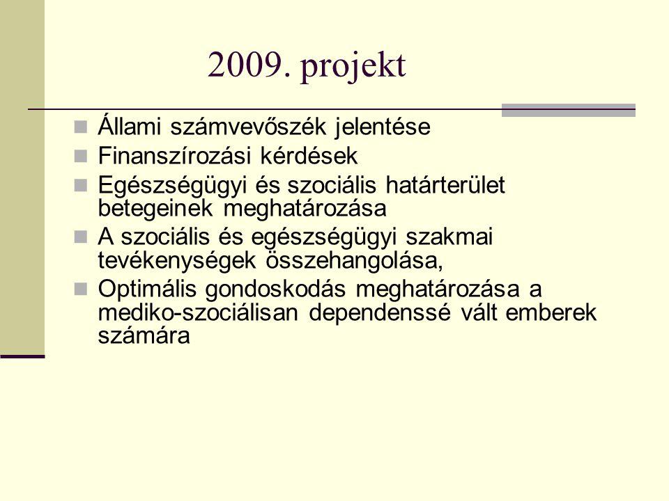 2009. projekt Állami számvevőszék jelentése Finanszírozási kérdések