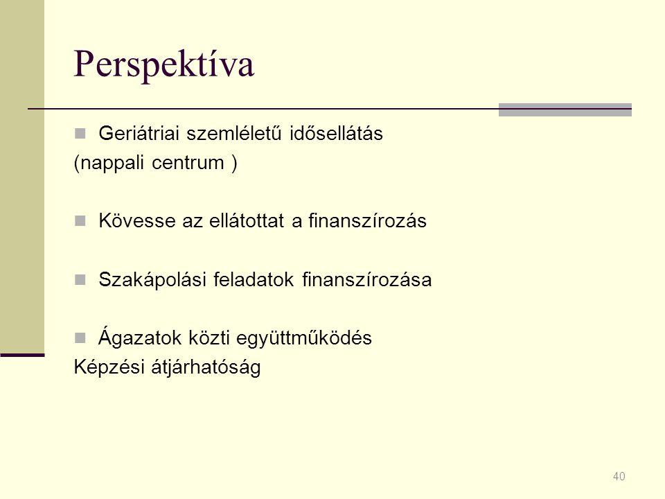 Perspektíva Geriátriai szemléletű idősellátás (nappali centrum )