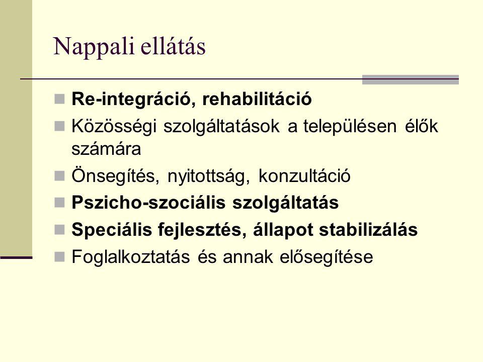 Nappali ellátás Re-integráció, rehabilitáció