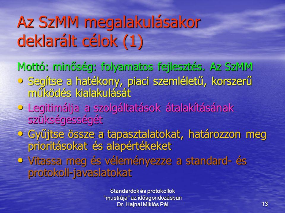 Az SzMM megalakulásakor deklarált célok (1)