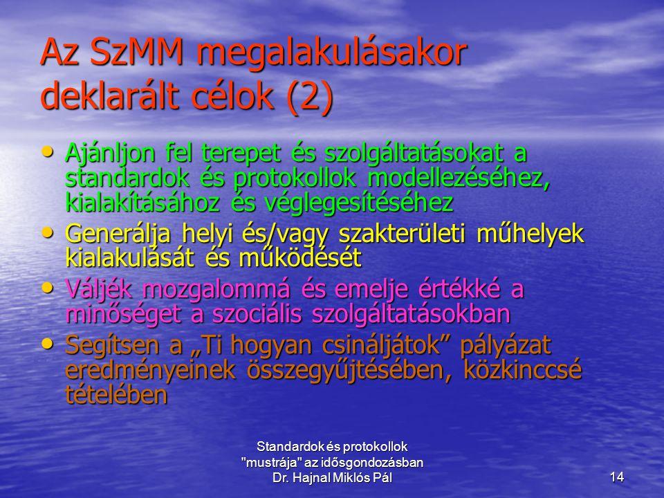 Az SzMM megalakulásakor deklarált célok (2)