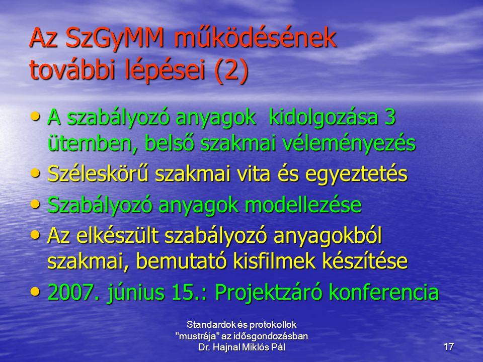 Az SzGyMM működésének további lépései (2)