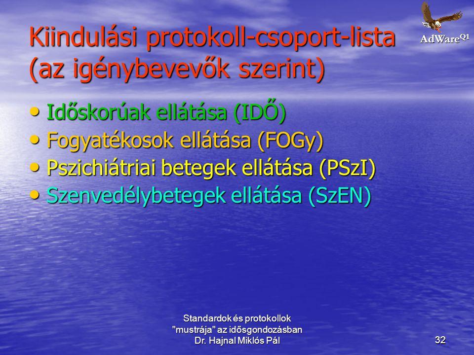 Kiindulási protokoll-csoport-lista (az igénybevevők szerint)