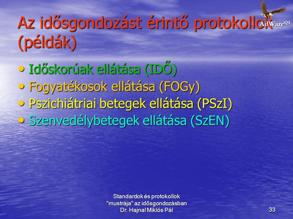 Az idősgondozást érintő protokollok (példák)