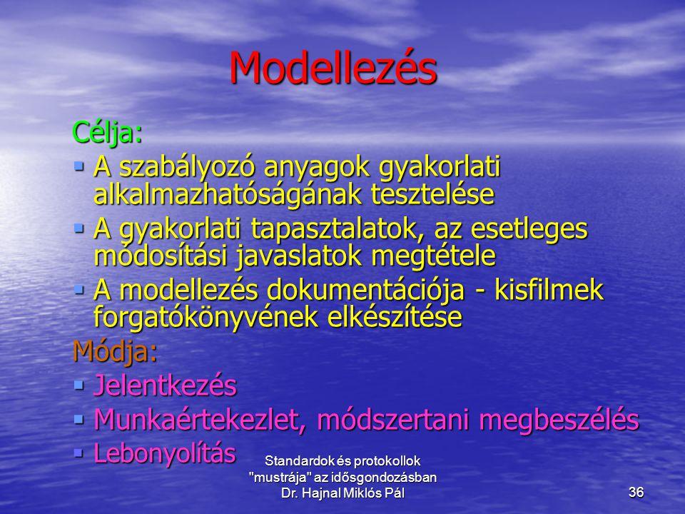 Modellezés Célja: A szabályozó anyagok gyakorlati alkalmazhatóságának tesztelése.