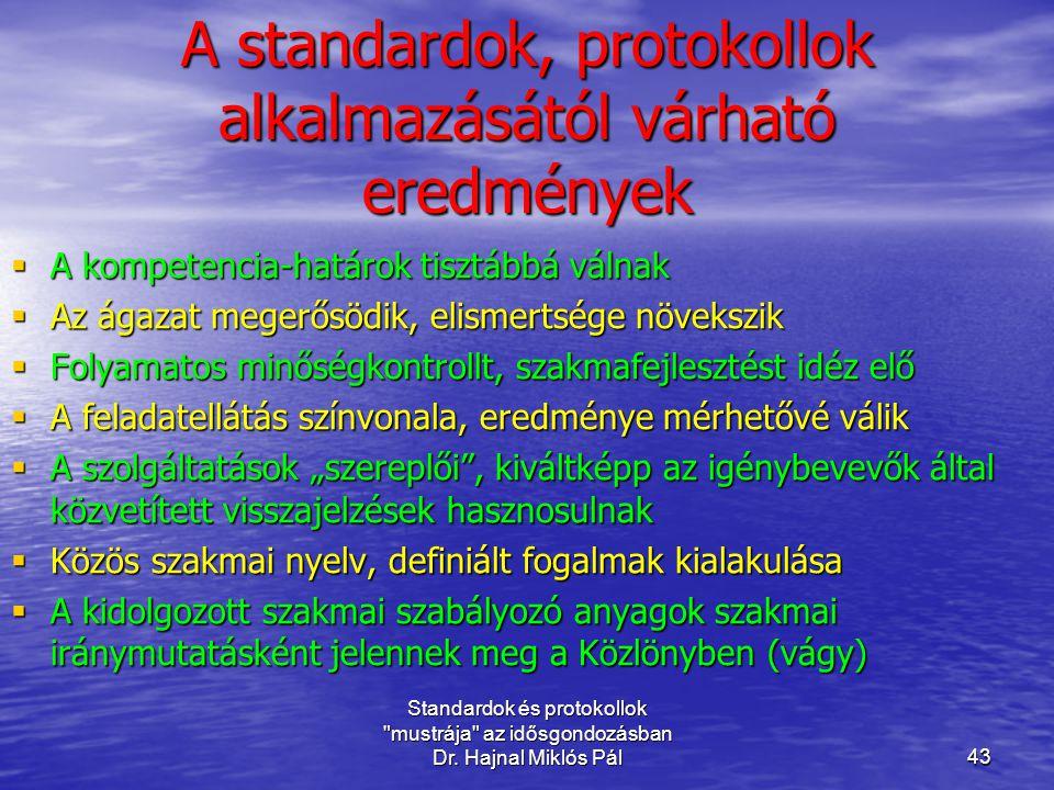 A standardok, protokollok alkalmazásától várható eredmények
