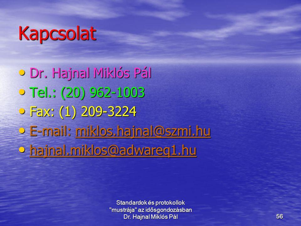 Kapcsolat Dr. Hajnal Miklós Pál Tel.: (20) 962-1003 Fax: (1) 209-3224