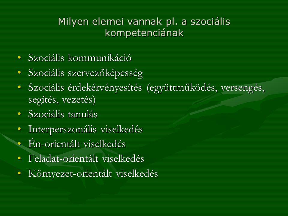 Milyen elemei vannak pl. a szociális kompetenciának