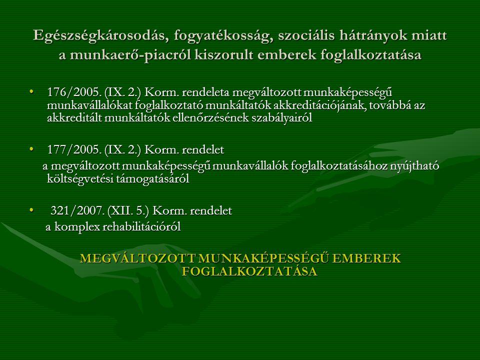 MEGVÁLTOZOTT MUNKAKÉPESSÉGŰ EMBEREK FOGLALKOZTATÁSA