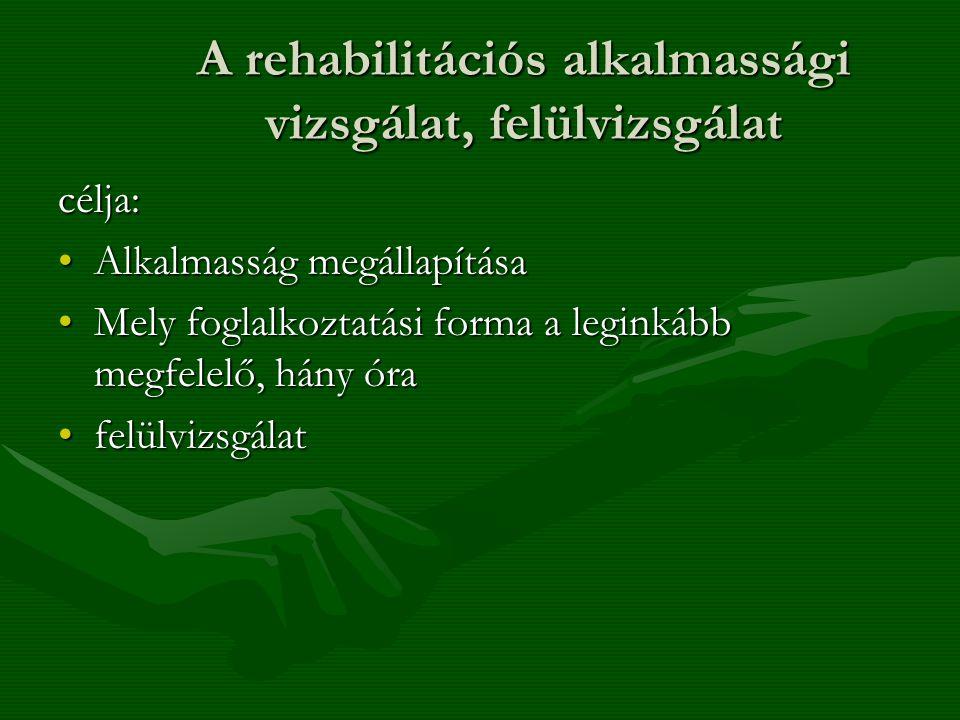 A rehabilitációs alkalmassági vizsgálat, felülvizsgálat