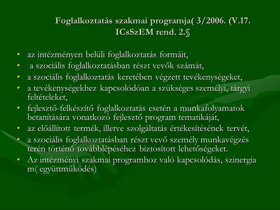 Foglalkoztatás szakmai programja( 3/2006. (V.17. ICsSzEM rend. 2.§