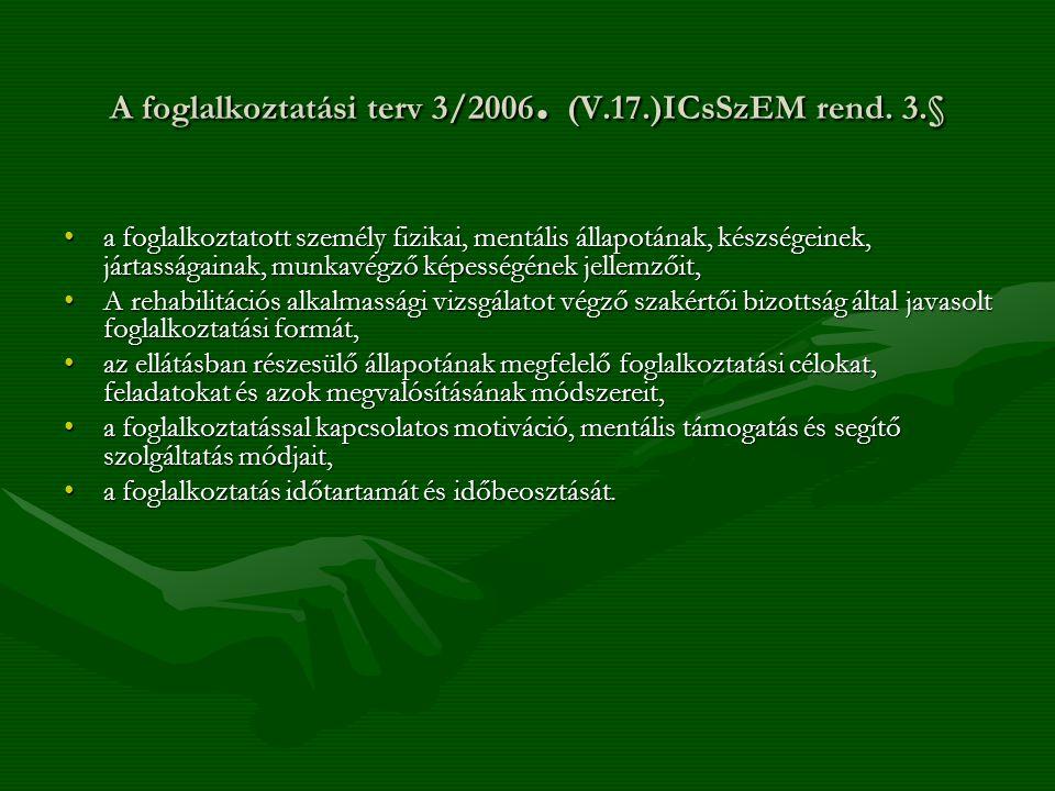 A foglalkoztatási terv 3/2006. (V.17.)ICsSzEM rend. 3.§