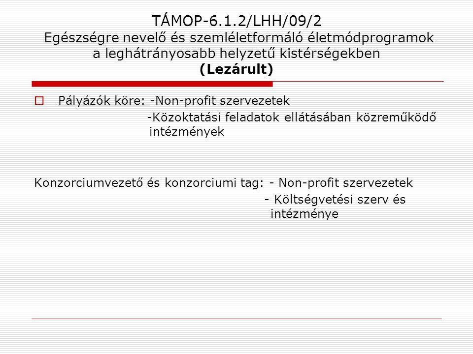 TÁMOP-6.1.2/LHH/09/2 Egészségre nevelő és szemléletformáló életmódprogramok a leghátrányosabb helyzetű kistérségekben (Lezárult)