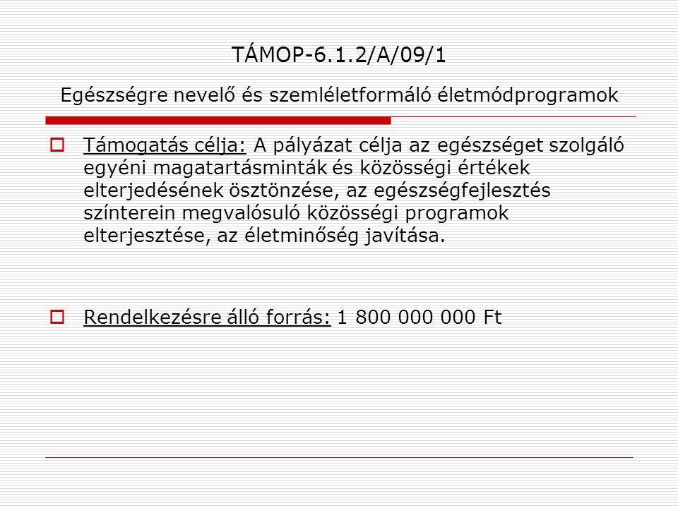 TÁMOP-6.1.2/A/09/1 Egészségre nevelő és szemléletformáló életmódprogramok