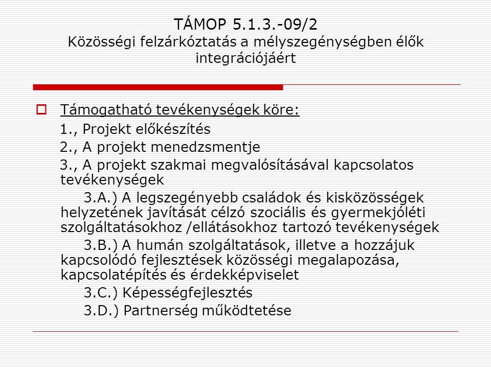 TÁMOP 5.1.3.-09/2 Közösségi felzárkóztatás a mélyszegénységben élők integrációjáért