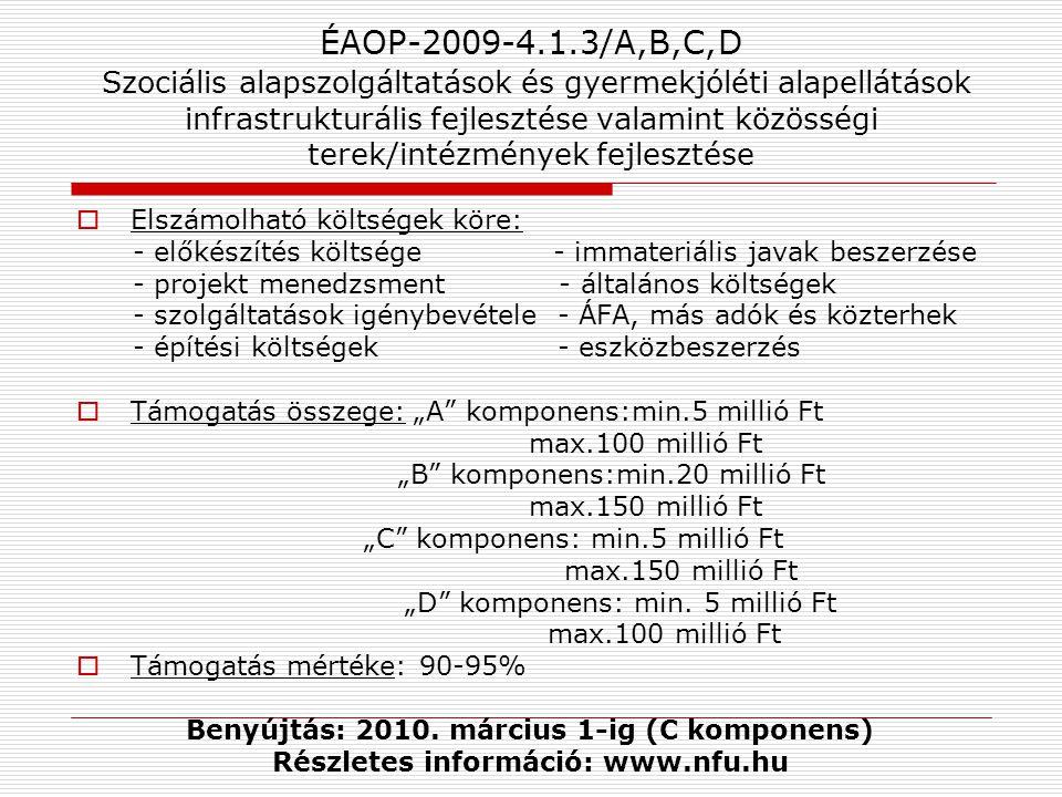 ÉAOP-2009-4.1.3/A,B,C,D Szociális alapszolgáltatások és gyermekjóléti alapellátások infrastrukturális fejlesztése valamint közösségi terek/intézmények fejlesztése