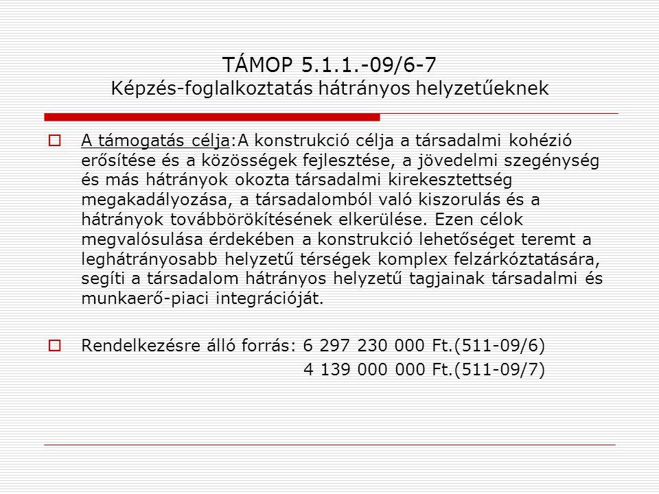 TÁMOP 5.1.1.-09/6-7 Képzés-foglalkoztatás hátrányos helyzetűeknek